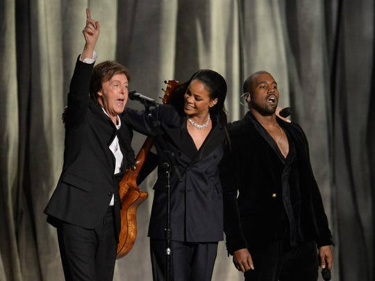 "Paul McCartney (fron left), Rihanna and Kanye West perform ""FouFiveSeconds""  at the 57th annual Grammy Awards at the Staples Center in Los Angeles in 2015."