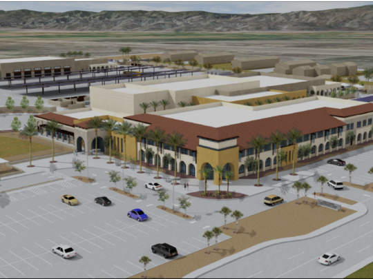 This architectural rendering from Coachella Valley Unified School District shows a two-story administrative building. The new district Community Education Complex will include new transportation and school nutrition facilities.