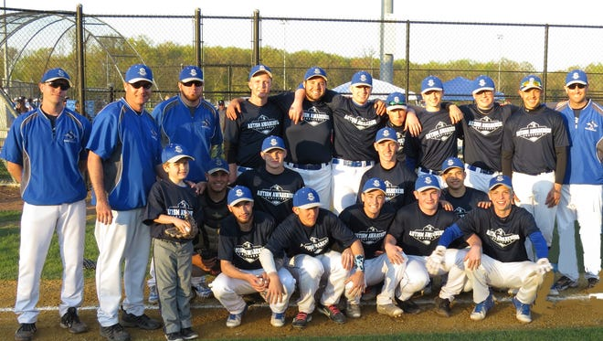 Sayreville baseball team poses for photo prior to 2016 Autism Awareness Baseball Challenge game