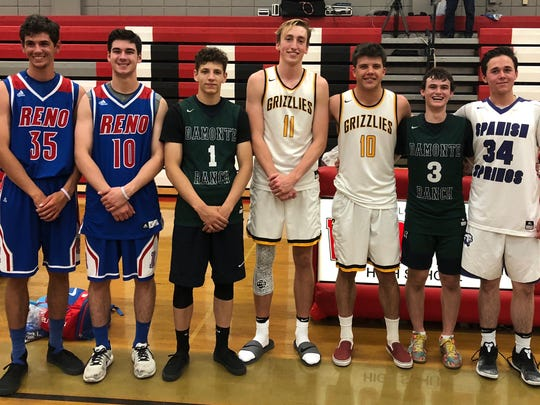 Some of the senior All-Stars, (who all also played for the Reno Ballers), left to right, Will Grinsell, Jonny Damon, Jordan Aguilar, Moses Wood, Austin Crofoot, Drew Damboise and Joey Prizina.