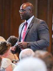 Chris Johnson speaks during a forum of candidates vying to be the Democratic party candidate for Attorney General Wednesday at the Episcopal Church of Saints Andrew and Matthew in Wilmington.
