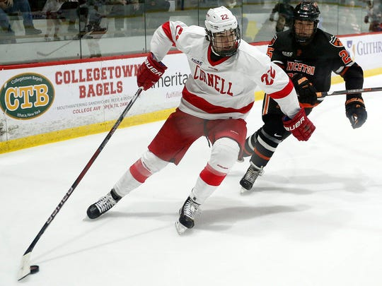 Cornell Big Red forward Jeff Malott controls the puck