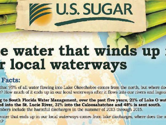 U.S. Sugar Corp. on several occasions has launched a media blitz to sell its positions on controversial Treasure Coast water issues, with campaigns including a series of full-page newspaper ads, as well as spots on television and websites.