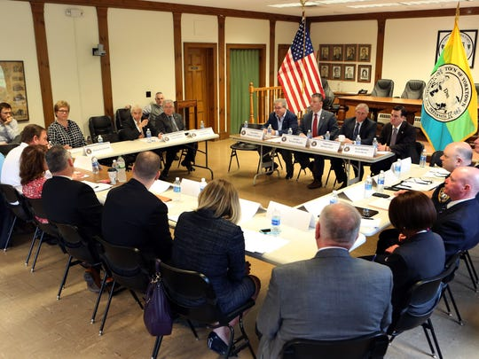 Senator Terrence Murphy hosts a sex offender roundtable discussion with elected officials, representatives of law enforcement and members of local advocacy groups focused on updating Meghan's Law April 27, 2017 at Yorktown Town Hall.