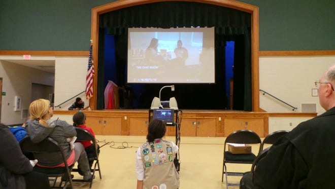 Nerys Muller, 16, a Vineland Ambassador Girl Scout from Troop No. 52055, presents videos she created during Family Technology Night at Johnstone Elementary School.