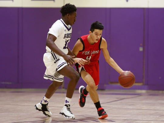 New Rochelle defeats Fox Lane 59-33 in the boys Class AA quarterfinal basketball game at New Rochelle High School in New Rochelle. Friday, February 24, 2017.