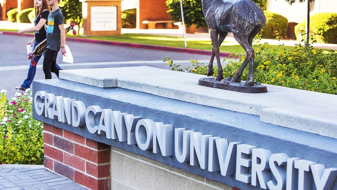 Students make their way on the campus of Grand Canyon University.