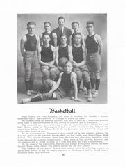 Edwin Hubble was the boy's basketball coach at New Albany High School for a year. This is from the 1914 NAHS yearbook.