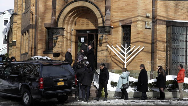 People arrive for the funeral of Ellen Brody on Friday at Chabad of the Rivertowns in Dobbs Ferry. Brody, 49 and a mother of three, was killed along with five rail passengers on Tuesday night, when a Metro-North commuter train crashed into her vehicle on the tracks at a railroad crossing in Valhalla.