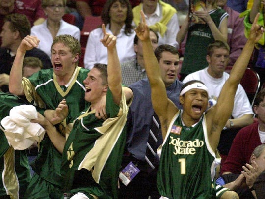 Derrick Stevens (1) and other players on the CSU bench celebrate the Rams' win over UNLV in the title game of the 2003 Mountain West tournament in Las Vegas. It's the only time the CSU men, who enter this year's tournament as the No. 10 seed, have ever won the MW title.