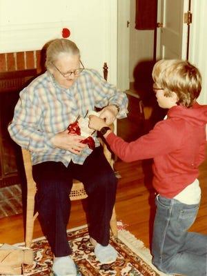Gregg Doyel with his Grandma, Ruby Doyel, on a Christmas Day.