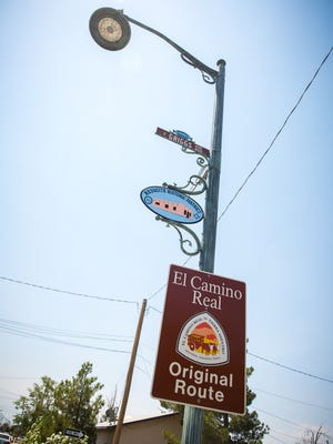 Streets signs throughout the Mesquite Historic District remind people of the area's heritage..
