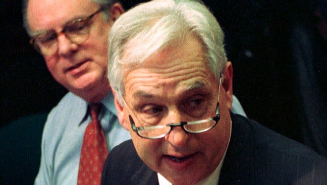 FILE - This Dec. 28, 1989 file photo shows Seattle Mayor Paul Schell at a news conference in Seattle. Former Mayor Schell, who led the city during the World Trade Organization protests in 1999, has died Sunday July 27,  2014. He was 76. (AP Photo/Barry Sweet, file)