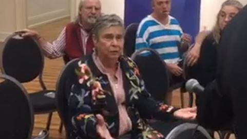 Judy Orcutt speaks at the YDR/WGAL town meeting Oct. 12 at Marketview Arts in York.