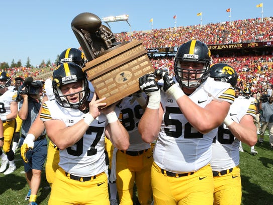 Iowa offensive lineman Boone Myers, right, did get