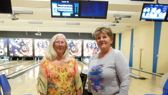 Heather Atkins, left, and Gwyn Ruebush placed third in doubles competition for Division I, with handicap at the Las Cruces USBC Tournament Championships held Feb. 11-12 at the Roadrunner Lanes at White Sands Missile Range.