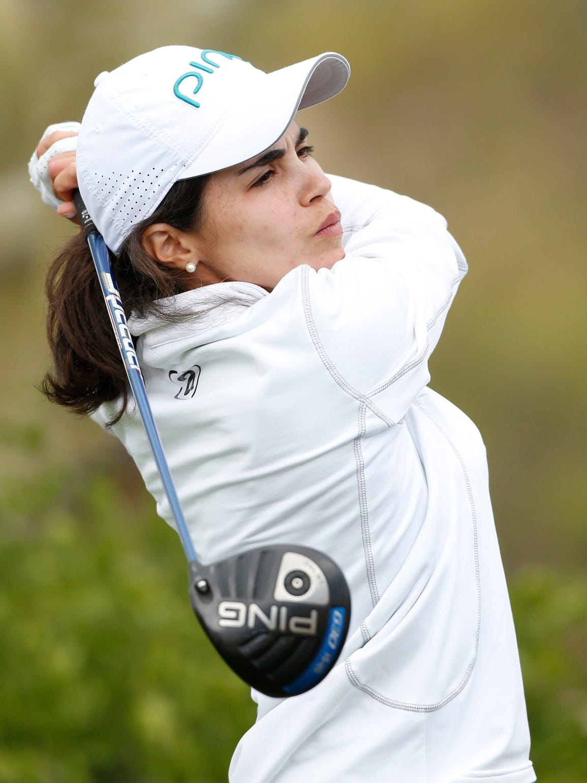 From 2015, Maria Hernandez tees off on the 11th hole