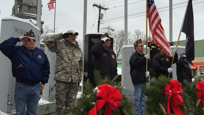 Tioga County veterans held a ceremony on Saturday at the memorial in Owego for National Wreaths Across America Day, to ensure those who served were not forgotten during the holiday season.