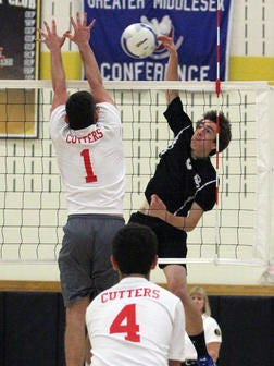 Bridgewater-Raritan's Kevin Ros (right) is the Courier News Boys Volleyball Player of the Year.