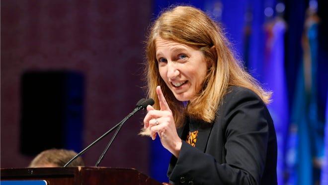 Health and Human Services Secretary Sylvia Mathews Burwell speaks in White Sulphur Springs, W.Va., on July 25, 2015.