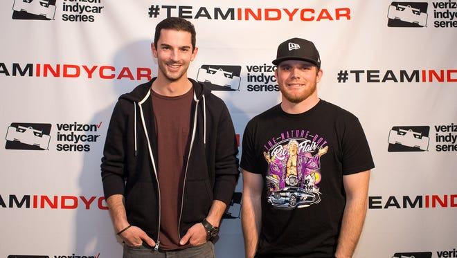 """Drivers Alexander Rossi, left, and Conor Daly won three legs of competition during this season's """"Amazing Race"""" scavenger hunt."""