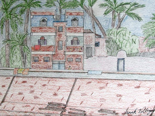 """""""Along the Nile,"""" pen-and-ink drawing by Frank Villigan,"""