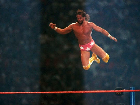 "Randy ""Macho Man"" Savage goes flying off the top rope during his epic match with Ricky ""The Dragon"" Steamboat."