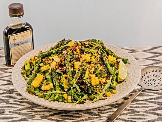 Grilled asparagus, corn and quinoa salad from Bourbon Barrel Foods.