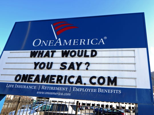 The OneAmerica signboard in Downtown Indianapolis is is shown in December 2013  at the corner of Vermont and Capitol streets. Company officials sometimes seek the public's help with the sign's clever quips and creative puns.