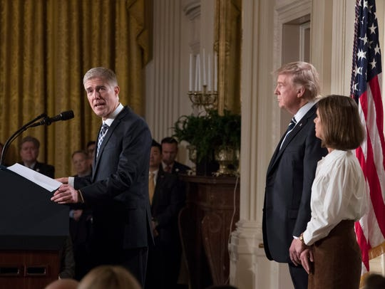 Neil Gorsuch delivers remarks in the East Room of the