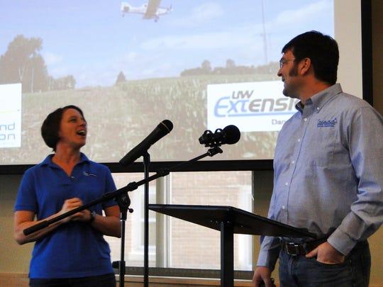 Heidi Johnson, UW-Extension, and Damon Raebe, an aerial