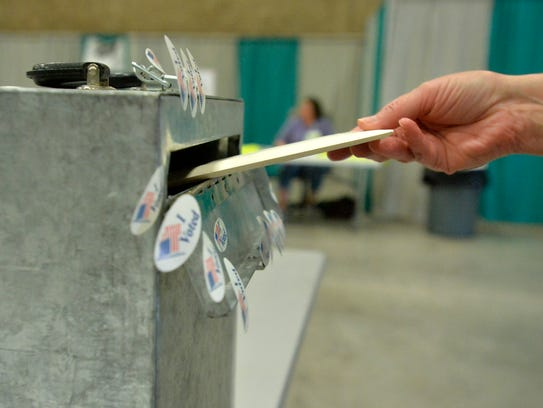 The voters cast their ballots at Exhibition Hall during