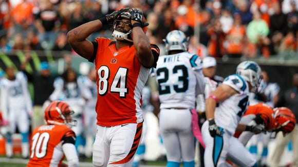 Bengals tight end Jermaine Gresham reacts after kicker Mike Nugent missed a field goal at the end of overtime Sunday against the Panthers.