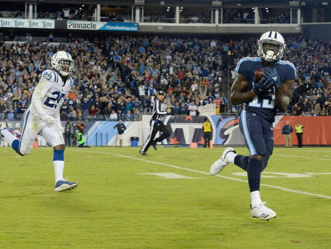 Titans wide receiver Taywan Taylor (13) is wide open