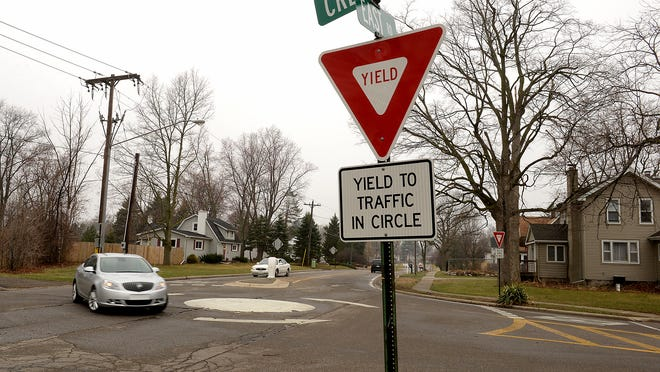 Dimondale's mini-roundabout was controversial when it first opened in 2001.