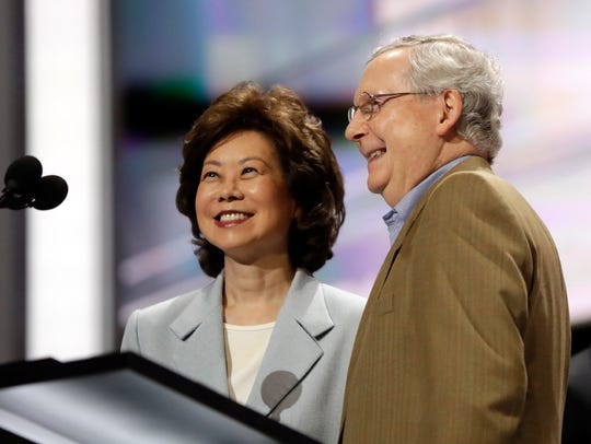 Elaine Chao shown here checking out the state at the