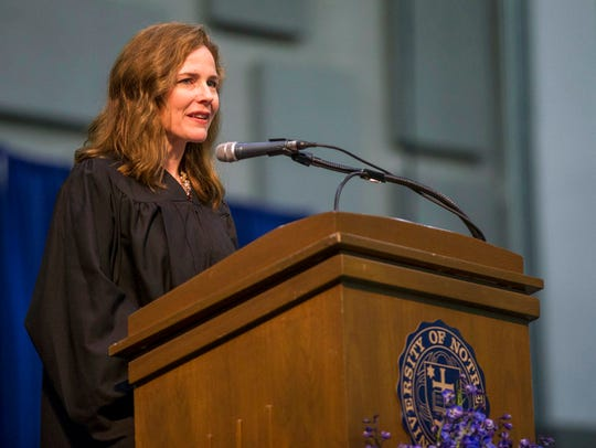 In this May 19, 2018, photo, Amy Coney Barrett, United