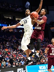 Texas Southern guard Demontrae Jefferson (3) goes up