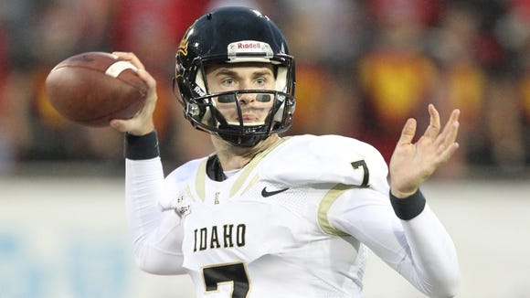 Oct 3, 2015; Jonesboro, AR, USA; Idaho Vandals quarterback Jake Luton (7) looks to pass in the first quarter against the Arkansas State Red Wolves at Centennial Bank Stadium. Mandatory Credit: Nelson Chenault-USA TODAY Sports
