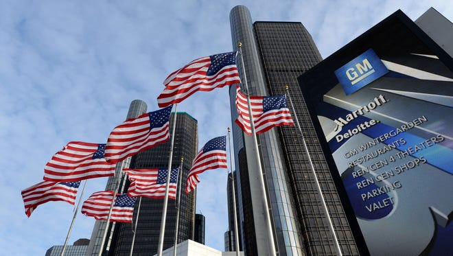 The General Motors headquarters in the Renaissance Center in Detroit.