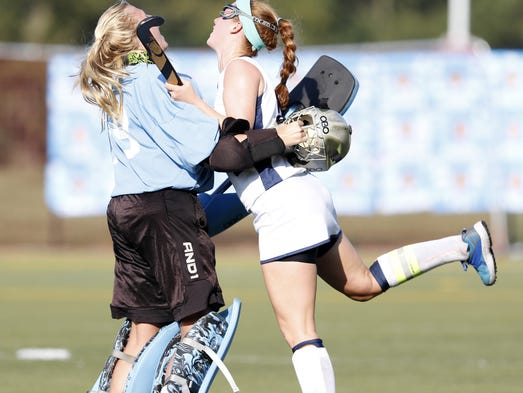 Manheim Township's Grace Torrance celebrates with goalkeeper