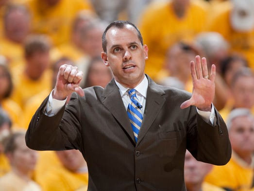 Frank Vogel, Indiana's head coach, calls out a play for his team during first half action, Miami Heat at Indiana Pacers, Game 6, 2nd round of the Eastern Conference Playoffs, Bankers Life Fieldhouse, Indianapolis, Thursday, May 24, 2012. Miami won 105-93 to close out the series. Robert Scheer/The Star