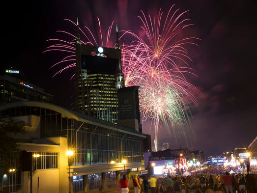 A huge crowd on Broadway attends the Music City July 4th: Let Freedom Sing celebration.