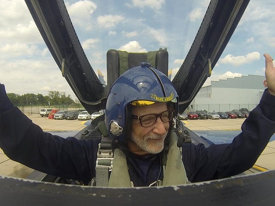 Accomack District 2 Supervisor Ron Wolff gives two thumbs up after his flight in Blue Angel 7 in this image taken from a video provided to him. Wolff recently travelled to Illinios to experience a Blue Angel fly along.