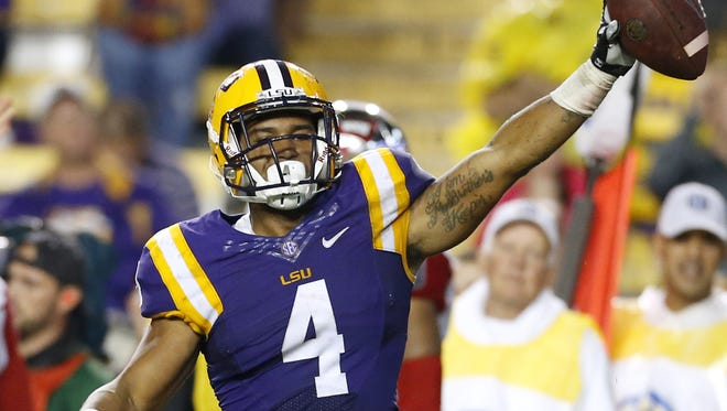 Running back Nick Brossette (4) and LSU face a stout Alabama defense on Saturday.