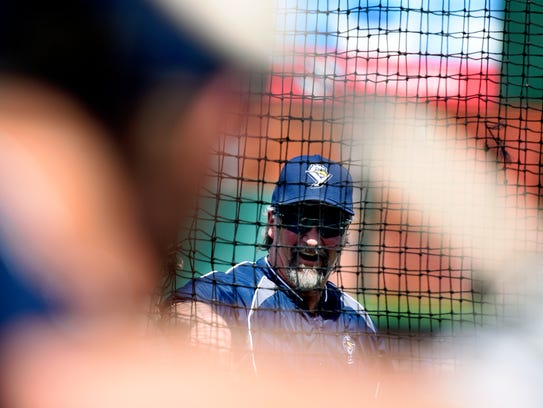 York Revolution Manager Mark Mason pitches during spring