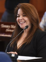 Sen. Louise Borja Muna is showin at session at the Guam Congress Building in this May 9 file photo.