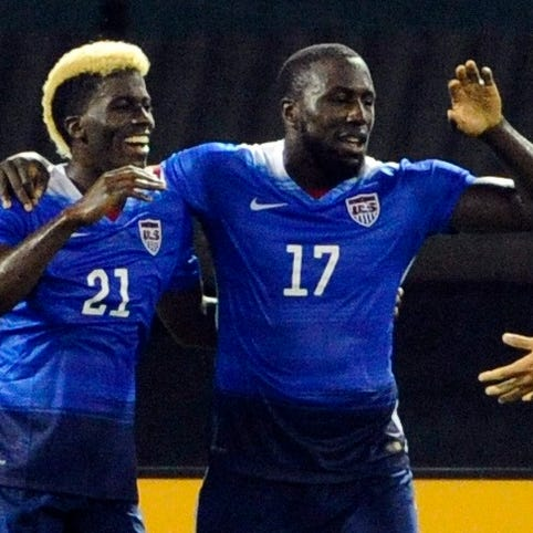 Jozy Altidore (17) celebrates on of his two goals with