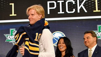 Rasmus Dahlin puts on a team jersey after being selected as the No. 1 overall pick by the Buffalo Sabres.