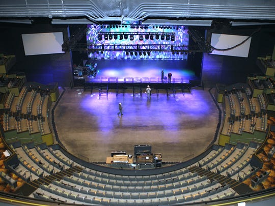 The Show, at Agua Caliente Casino Resort Spa in Rancho Mirage. View of the stage and some of the seating with two large screens at left and right of stage. Wade Byars